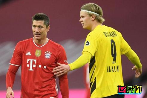 拜仁4-2击败多特蒙德,莱万帽子戏法,哈兰德9分钟梅开二度