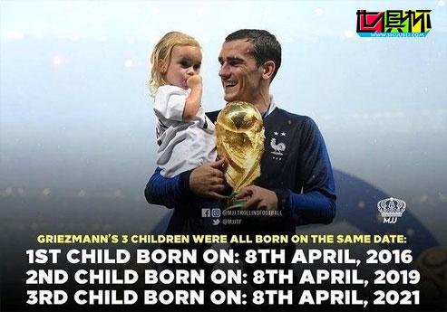 巴萨前锋格列兹曼喜得小女儿,有趣的是3个孩子都是4月8日出生