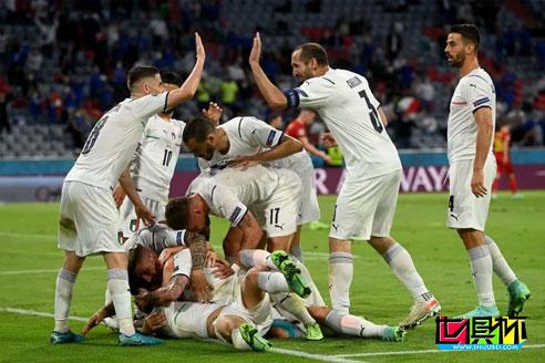 欧洲杯1/4决赛,意大利2-1击败比利时,半决赛对阵西班牙