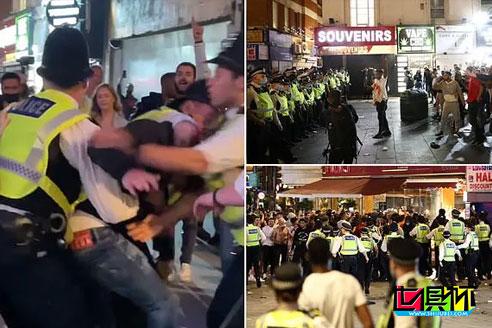 英媒报道:英格兰闯进4强后,在莱斯特广场上球迷引发骚乱