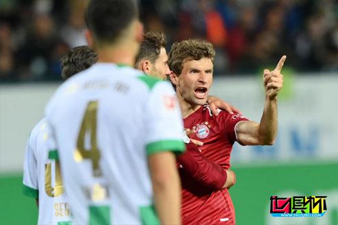 拜仁客场3-1击败升班马菲尔特,穆勒和基米希先后建功